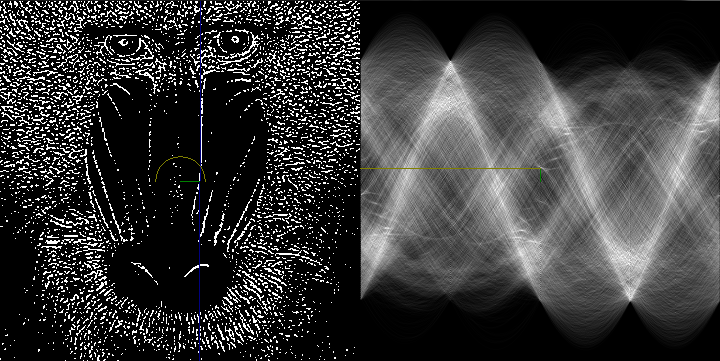 Hough transform of a baboon
