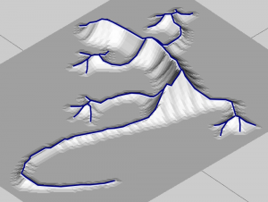 The Distance Transform can be seen as this 3D surface where the height is the distance to the edge. The ridges in this surface are the Medial Axis Transform