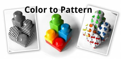"""Color to pattern"" converts colors to patterns with fruits or lines"